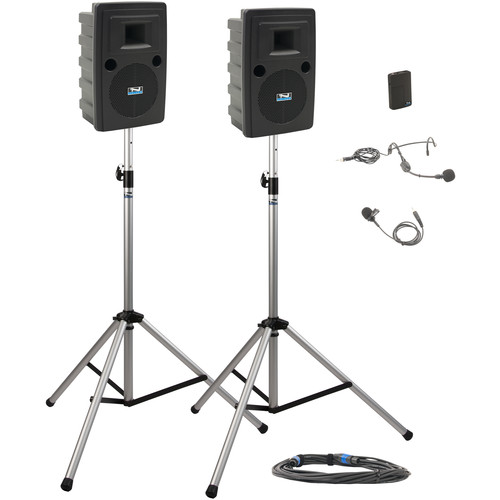 Anchor Audio LIB-DP1-B Liberty Deluxe Package 1 Portable Bluetooth PA System with Bodypack Transmitter, Unpowered Companion Speaker, and Speaker Stands (1 x Lavalier Mic, 1 x Headset Mic, 1.9 GHz)