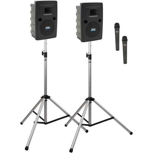 Anchor Audio LIB-DP2-AIR-HH Liberty Deluxe AIR Package 2 Portable Bluetooth PA System with AIR Transmitter, Two Wireless Handheld Microphone Transmitters, Wireless Companion Speaker, and Speaker Stands (1.9 GHz)