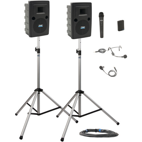 Anchor Audio LIB-DP2-HB Liberty Deluxe Package 2 Portable Bluetooth PA System with Bodypack & Handheld Wireless Microphone Transmitters, Unpowered Companion Speaker, and Speaker Stands (1 x Lavalier Mic, 1 x Headset Mic, 1.9 GHz)