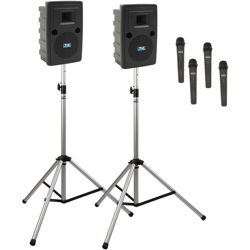 Anchor Audio LIB-DP4-AIR-HHHH Liberty Deluxe AIR Package 4 Portable Bluetooth PA System with AIR Transmitter, Four Wireless Handheld Microphone Transmitters, Wireless Companion Speaker, and Speaker Stands (1.9 GHz)