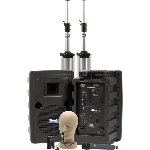 Anchor Audio Liberty Deluxe AIR PA Package Dual with One WH-8000 Wireless Handheld Mic and One CM-60 Collar Mic