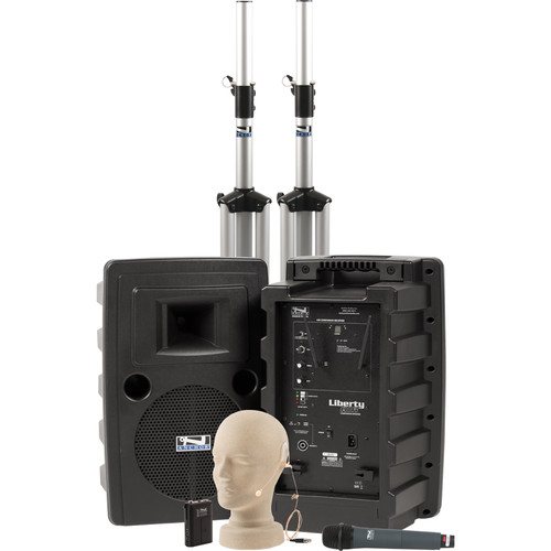 Anchor Audio Liberty Deluxe AIR PA Package Dual with One WH-8000 Wireless Handheld Mic and One EM-TA4F UltraLite Mic
