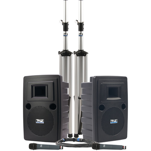 Anchor Audio LIB-DPDUALAC-HH Liberty Platinum DUAL Deluxe PA Package with Two WH-8000 Handheld Microphones (AC Only)