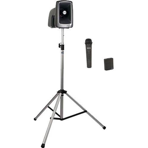 Anchor Audio MEGA-BP2-BB MegaVox 2 PA with Stand, and Wireless Handheld/Bodypack Lapel/Headset Mic Kit