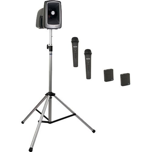 Anchor Audio MEGA-BP4-HHBB MegaVox 2 PA with Stand, and Four Wireless Handheld/Bodypack Lapel/Headset Mics Kit