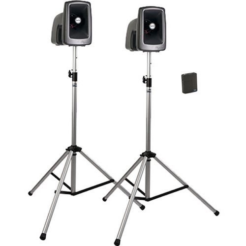 Anchor Audio MEGA-DP1-AIR-B MegaVox 2 Deluxe AIR PA, Wireless Companion Speaker, 2 Stands, and Wireless Lapel/Headband Mics