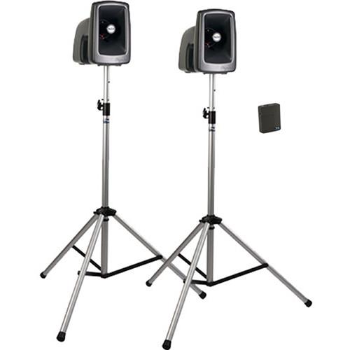 Anchor Audio MEGA-DP1-AIR-B MegaVox 2 Deluxe AIR PA, Wireless Companion Speaker, 2 Stands, and Wireless Lapel/Headband Mics
