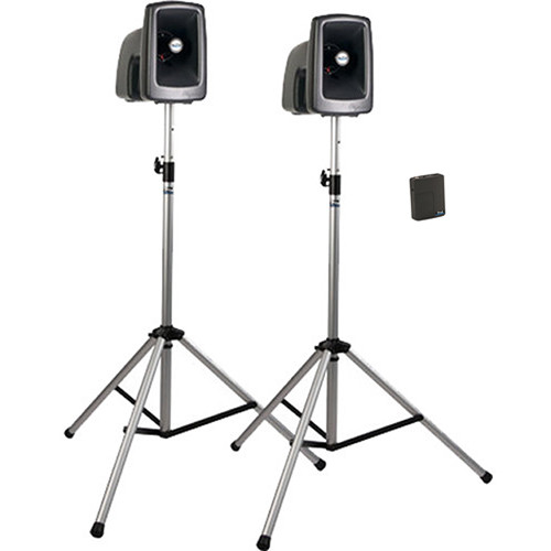 Anchor Audio MEGA-DP1-B MegaVox 2 Deluxe PA, Wired Companion Speaker, Two Stands and Wireless Lapel/Headset Microphones