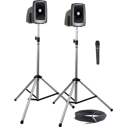 Anchor Audio MEGA-DP1-H MegaVox 2 Deluxe Package with Wired Companion Speaker, Two Stands & One Wireless Handheld Microphone