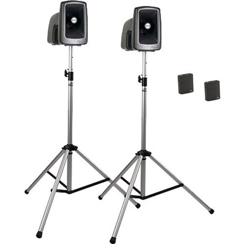 Anchor Audio MEGA-DP2-AIR-BB MegaVox 2 Deluxe AIR PA, Wireless Companion Speaker, 2 Stands, and 2 Wireless Lapel/Headband Mics