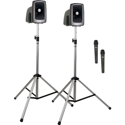 Anchor Audio MEGA-DP2-AIR-HH MegaVox 2 Deluxe AIR Package with Wireless Companion Speaker, 2 Stands & 2 Wireless Handheld Mics