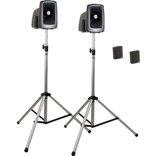 Anchor Audio MEGA-DP2-BB MegaVox 2 Deluxe PA, Wired Companion Speaker, Two Stands, Two Bodypack Transmitters, and Two Lapel/Headset Mics