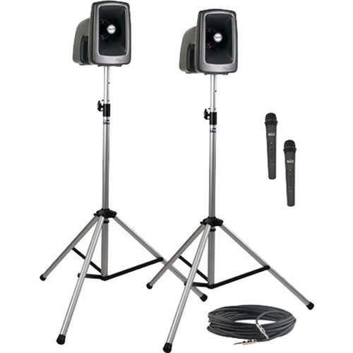Anchor Audio MEGA-DP2-HH MegaVox 2 Deluxe Package with Wired Companion Speaker, Two Stands & Two Wireless Handheld Microphones