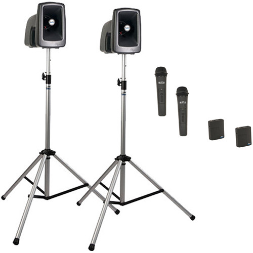 Anchor Audio MEGA-DP4-AIR-HHBB MegaVox 2 Deluxe AIR PA, Wireless Companion Speaker, 2 Stands, 4 Wireless Handheld/Bodypack Lapel/Headset Mics