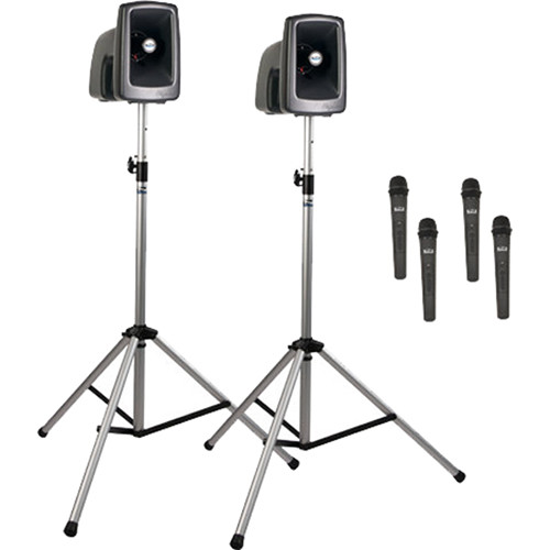 Anchor Audio MEGA-DP4-AIR-HHHH MegaVox 2 Deluxe AIR Package with Wireless Companion Speaker, 2 Stands & 4 Wireless Handheld Mics