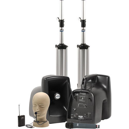 Anchor Audio MegaVox Deluxe AIR PA Package Dual with One WH-8000 Wireless Handheld Microphone & One CM-60 Collar Microphone