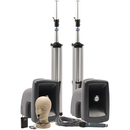 Anchor Audio MEGA-DPDDUAL MegaVox DUAL Deluxe PA Package with Wireless Handheld and Collar Microphone