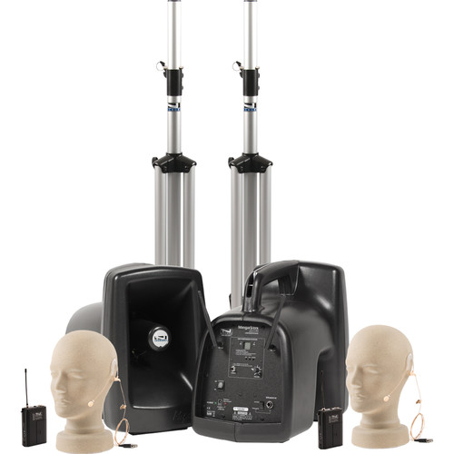 Anchor Audio MegaVox Deluxe AIR PA Package Dual with Two EM-TA4F UltraLite Microphones