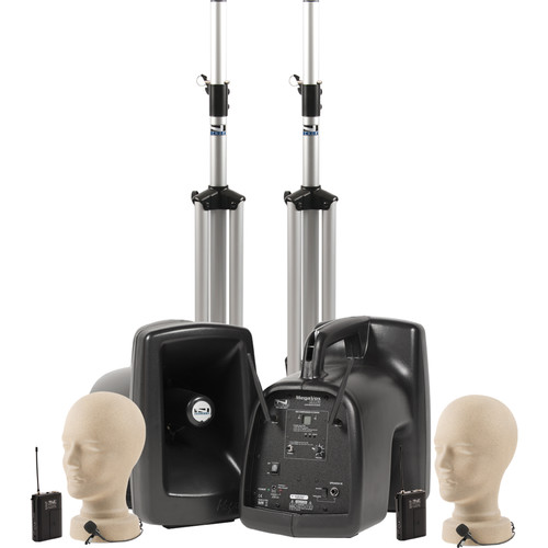 Anchor Audio MegaVox Deluxe AIR PA Package Dual with Two LM-60 Lapel Microphones