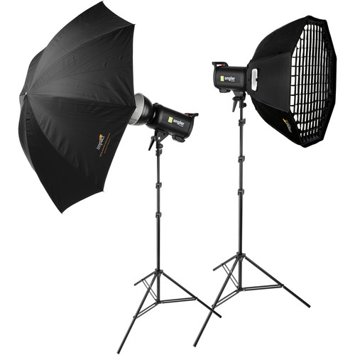 Angler Q400 2-Monolight Kit with Radio Trigger, Softboxes, Stands, and Umbrella
