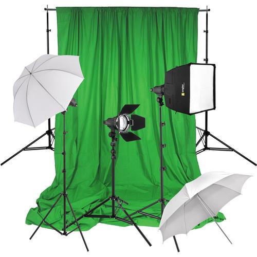 Angler Shadow Focus Spot 300 3-Light Kit with Green Screen
