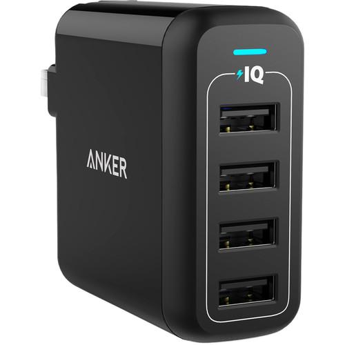 ANKER PowerPort 4 4-Port USB Charger (Black)