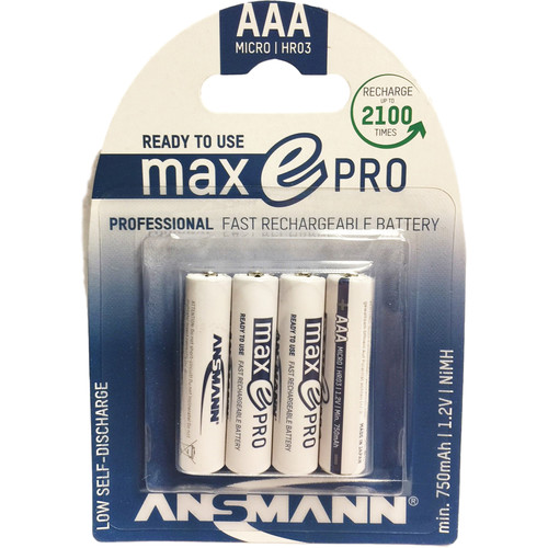 Ansmann maxE PRO AAA 800mAh Low Self-Discharge Rechargeable Batteries (4-Pack)