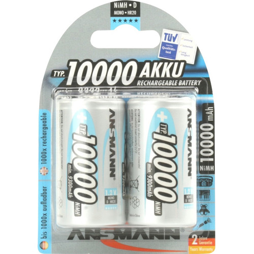 Ansmann Mono D Rechargeable NiMH Batteries (10,000mAh, 2-Pack, Clamshell)