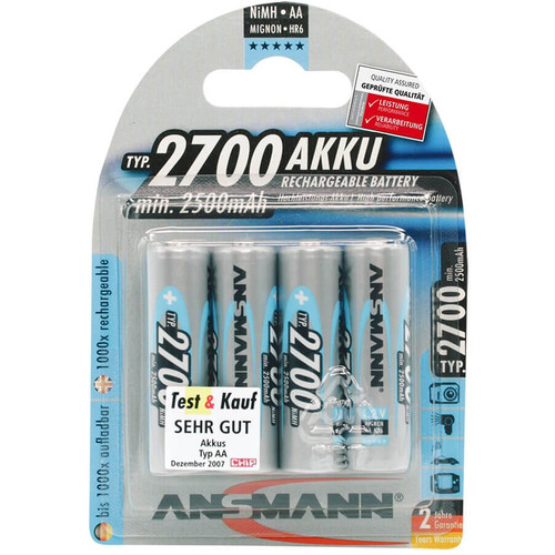 Ansmann AA Rechargeable NiMH Batteries (1.2V, 2700mAh, 4-Pack)