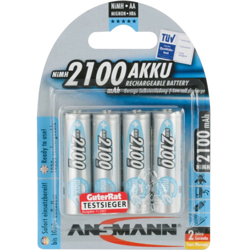 Ansmann maxE AA Rechargeable NiMH Batteries (1.2V, 2100mAh, 4-Pack)