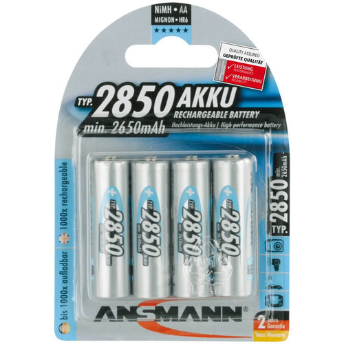 Ansmann AA Rechargeable NiMH Batteries (2850mAh, 4-Pack, Clamshell)