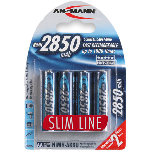 Ansmann AA Slimline Rechargeable NiMH Batteries (2850mAh, 4-Pack, Clamshell)