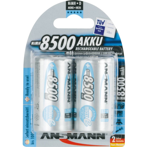 Ansmann maxE Mono D Rechargeable NiMH Batteries (8500mAh, 2-Pack, Clamshell)