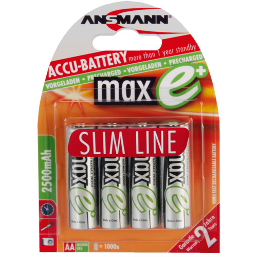 Ansmann maxE Mignon AA Type 2500mAh Rechargeable NiMH Battery (4-Pack, US)
