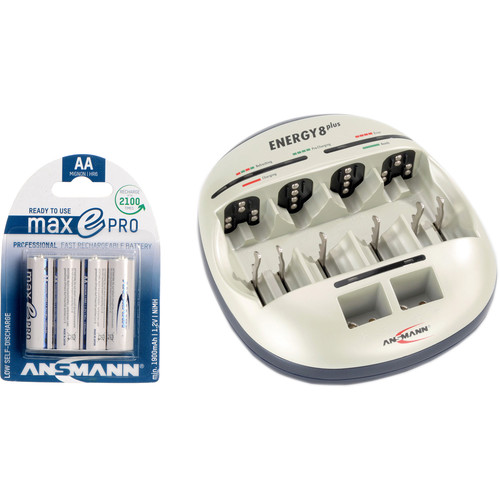 Ansmann Energy 8 Plus Charger and maxE PRO AA NiMH Battery Kit