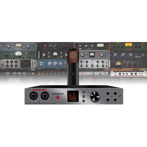 Antelope Discrete 4 and Edge Bundle Thunderbolt/USB 14x20 Audio Interface with Premium FX Pack and Large-Diaphragm Condenser Modeling Microphone