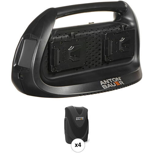 Anton Bauer Four Digital 90 V-Mount Batteries with Performance Series Quad Charger