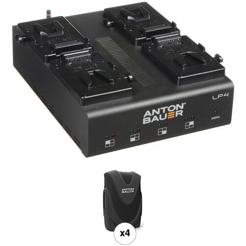 Anton Bauer LP4 Quad Charger with 4 Digital 90 Batteries V-Mount Kit