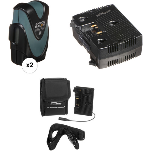 Anton Bauer Digital 90 2-Battery Kit with TWIN Charger & QR-DSLR Adapter (Gold Mount)