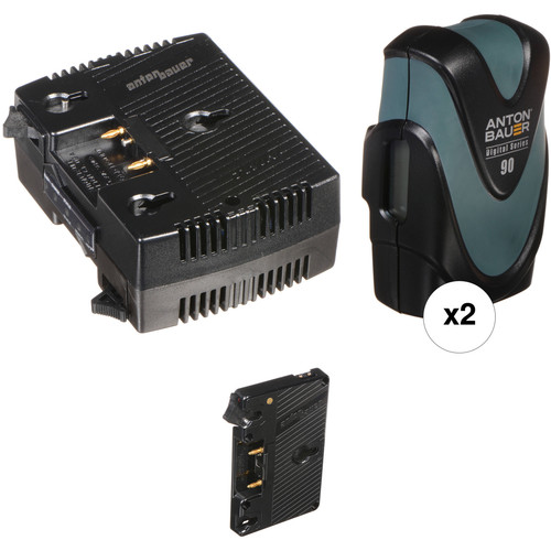 Anton Bauer Digital 90 Two-Battery Kit for AJA CION with Two-Position Charger (Gold Mount)