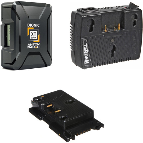 Anton Bauer Dionic XT90 2-Battery Kit with Tandem-70 Charger & Sony F5/F55 Plate (Gold Mount)