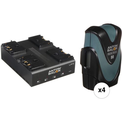 Anton Bauer LP4 Quad Charger with 4 Digital 90 Batteries Gold Mount Kit