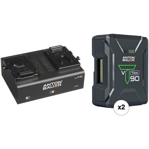 Anton Bauer Titon 90 2-Battery Kit with LP2 Dual Charger (V-Mount)