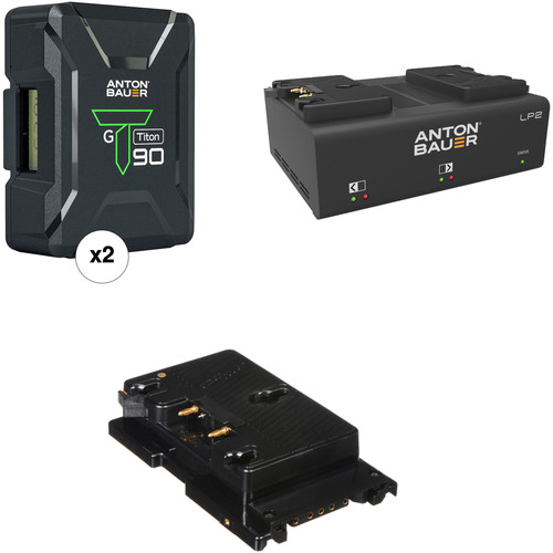 Anton Bauer Titon 90 Battery Kit with LP2 Dual Charger & Plate for Sony F5/F55 (Gold Mount)