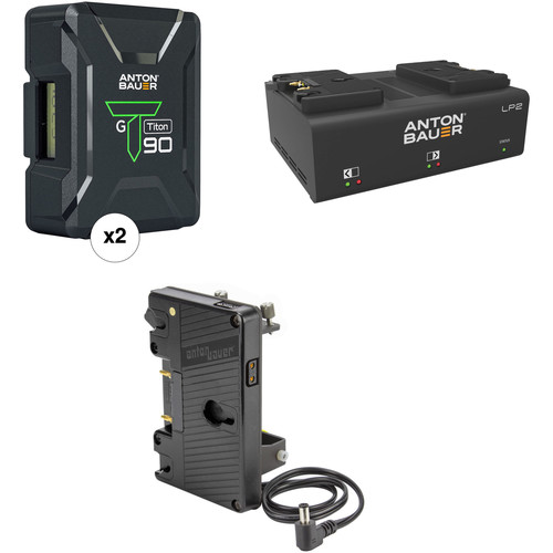 Anton Bauer Titon 90 Battery Kit with LP2 Dual Charger & Plate for Sony FS7 Cameras (Gold Mount)