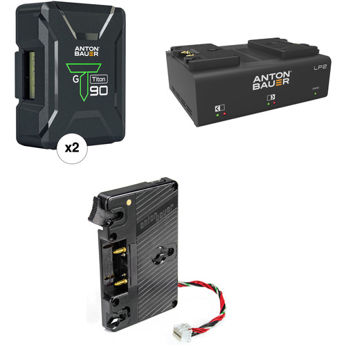 Anton Bauer Titon 90 Battery Kit with LP2 Dual Charger & Plate for Blackmagic URSA (Gold Mount)