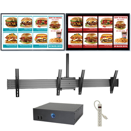 "AOPEN nTAKE Value Digital Signage Kit with Two Landscape Ceiling-Mounted 55"" LED Monitors"
