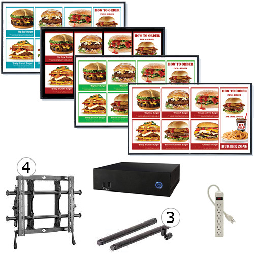 "AOPEN nTAKE PRO with Four 46"" LED Monitors Wall-Mounted Digital Signage Kit"