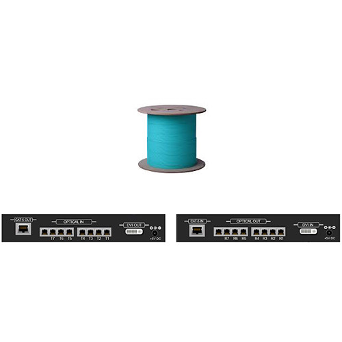 Apantac Dual/Single Link DVI Extender with 7 LC Fiber Optic and CAT5 Ports (Up to 246')