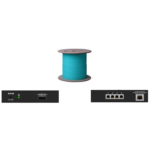 Apantac Single Link HDMI Extender with Four LC Fiber Optic Cables (Up to 130')